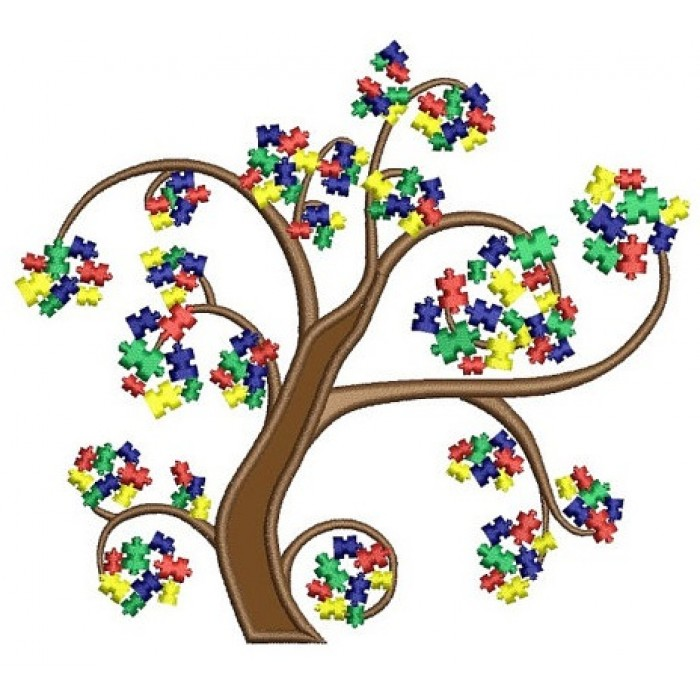 Autism Awareness Tree Applique Machine Embroidery Digitized Design Pattern - Instant Download - 4x4 , 5x7, and 6x10 -hoops