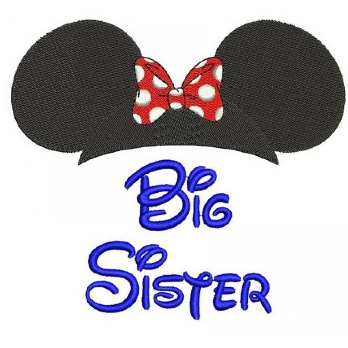 Big Sister Mouse Ears looks like Minnie Mouse Machine Embroidery Digitized Filled Pattern- Instant Download - 4x4 ,5x7,6x10 -hoops
