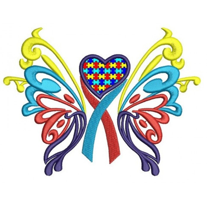 Butterfly Heart Autism Awareness Applique Machine Embroidery Digitized Design Pattern - Instant Download - 4x4 , 5x7, 6x10 -hoops