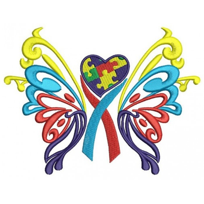 Butterfly Heart Autism Awareness Machine Embroidery Digitized Design Filled Pattern - Instant Download - 4x4 , 5x7, 6x10 -hoops