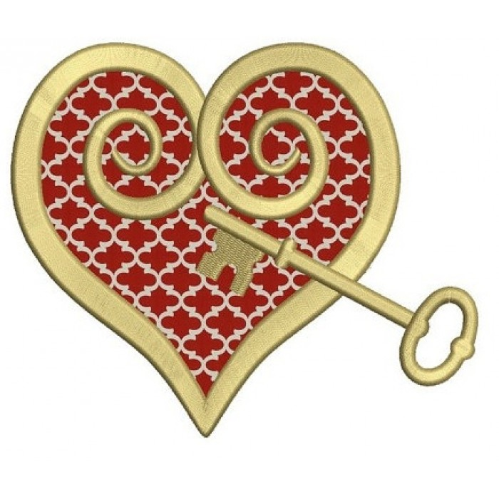 Heart with a Key Applique Machine Embroidery Digitized Design Pattern - Instant Download - 4x4 , 5x7, 6x10