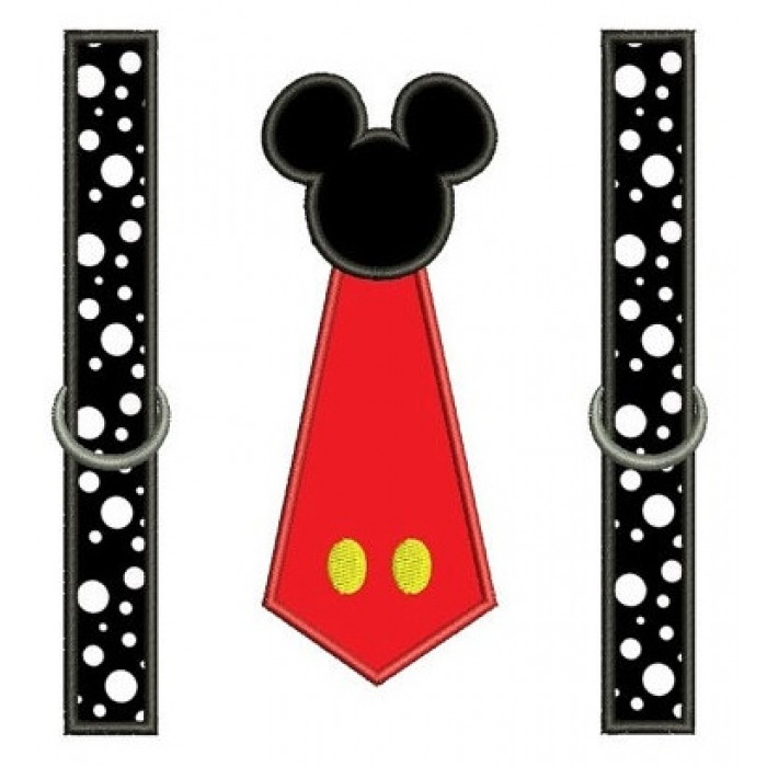 Looks like Mickey Mouse Tie with suspenders Applique ...