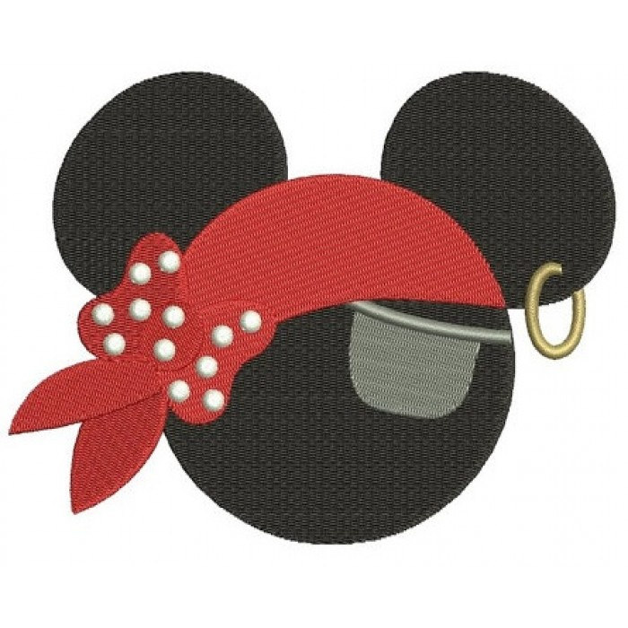 Looks like Pirate Mickey Mouse Ears with a patch Machine Embroidery Digitized Filled Pattern- Instant Download - 4x4 ,5x7,6x10 -hoops