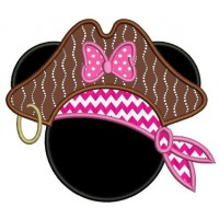 Looks like Pirate Minnie Mouse Ears Applique Machine Embroidery Digitized Pattern- Instant Download - 4x4 ,5x7,6x10 -hoops