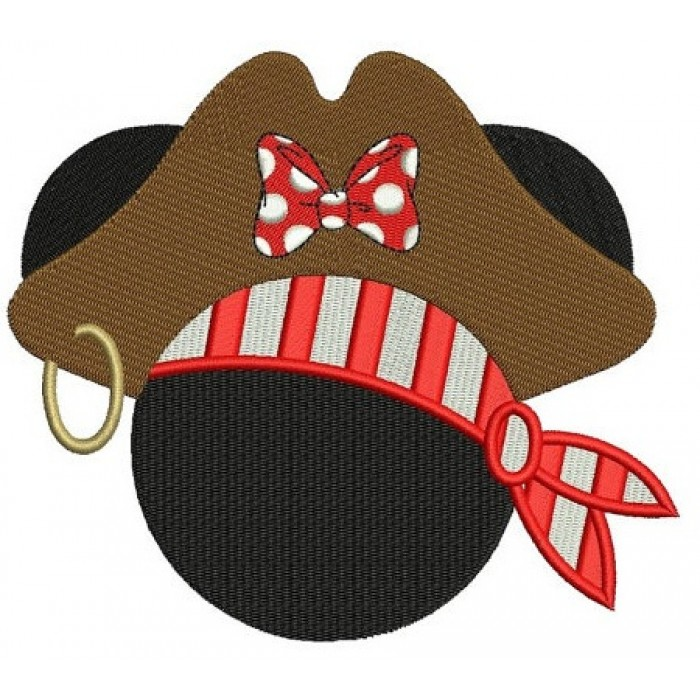 Looks like Pirate Minnie Mouse Ears Machine Embroidery Digitized Filled Pattern- Instant Download - 4x4 ,5x7,6x10 -hoops