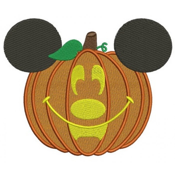 Mickey Ears Pumpkin Halloween Machine Embroidery Digitized Filled Pattern - Instant Download - 4x4 , 5x7, 6x10