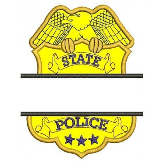 State Police Badge Applique Split Machine Embroidery Digitized Design Pattern - Instant Download- 4x4 , 5x7, 6x10