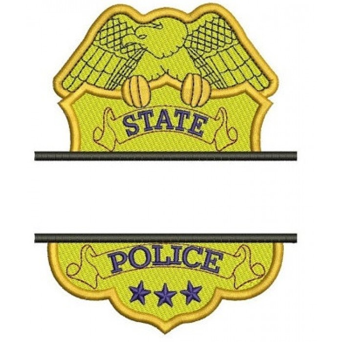 State Police Badge Split Machine Embroidery Digitized Design Filled Pattern - Instant Download- 4x4 , 5x7, 6x10
