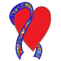 Support Autism Awareness Heart with Ribbon Applique Machine Embroidery Digitized Design Pattern - Instant Download - 4x4 , 5x7, 6x10 -hoops