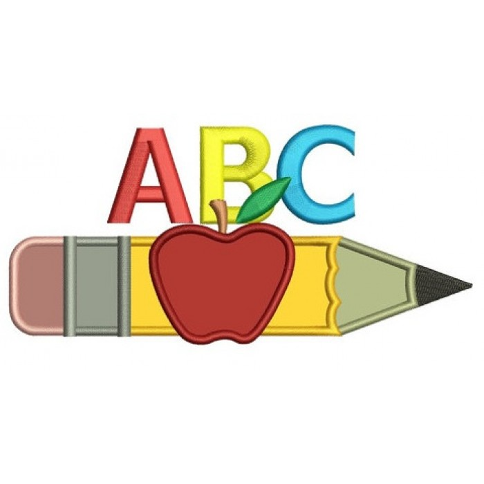 pencil with letters and apple applique school machine embroidery