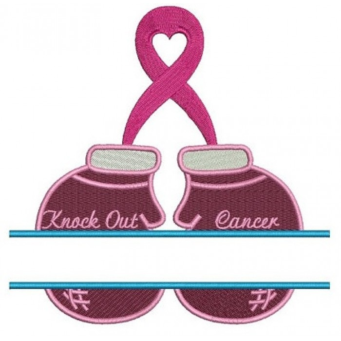 Boxing Gloves Breast Cancer Awareness Split Filled Machine Embroidery Digitized Design Pattern - Instant Download - 4x4 , 5x7, and 6x10