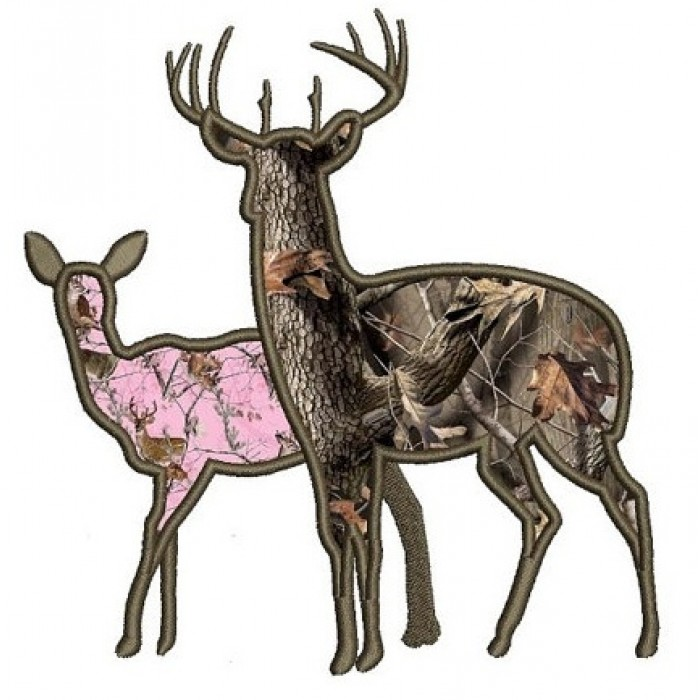 Browning Doe Buck Head Deer Applique Machine Embroidery Digitized