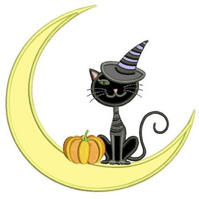 Cat on the moon Halloween Applique Machine Embroidery Digitized Design Pattern - Instant Download - 4x4 , 5x7, and 6x10