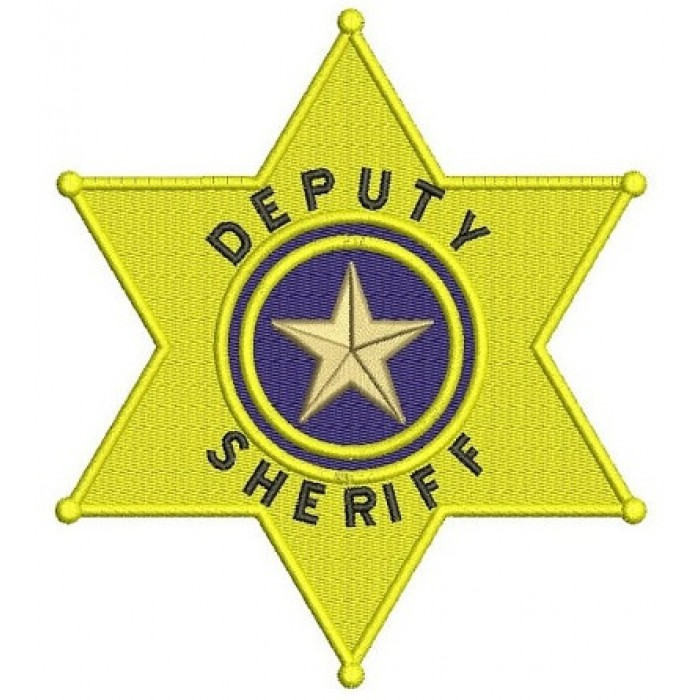 Deputy Sheriff Police Badge Machine Embroidery Digitized Design Filled Pattern - Instant Download- 4x4 , 5x7, 6x10