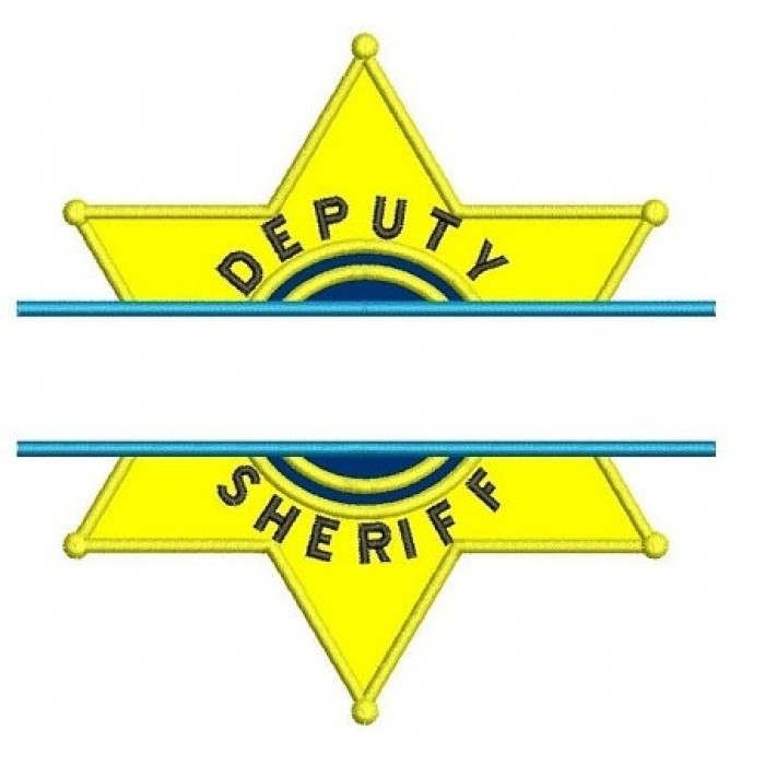 Deputy Sheriff Police Badge Split Applique Machine Embroidery Digitized Design Pattern - Instant Download- 4x4 , 5x7, 6x10