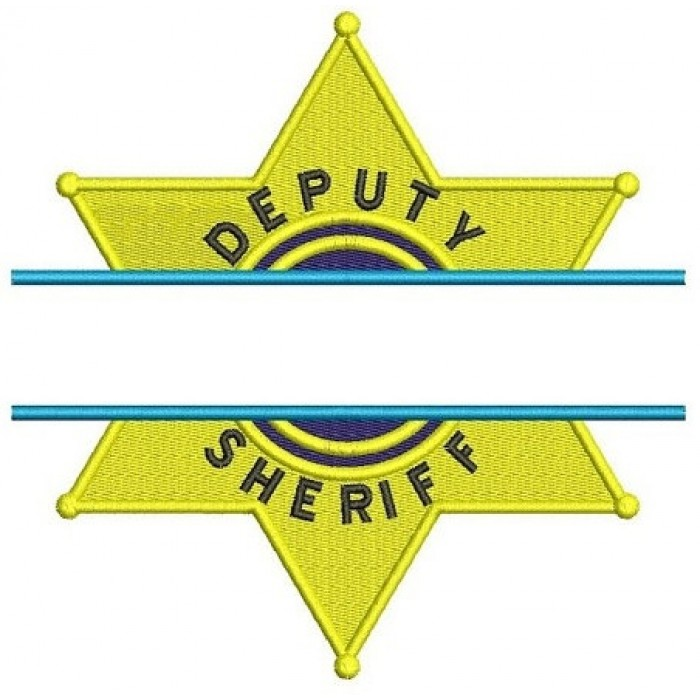 Deputy Sheriff Police Badge Split Machine Embroidery Digitized Design Filled Pattern - Instant Download- 4x4 , 5x7, 6x10