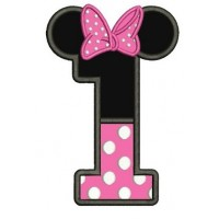 Number One First Birthday Girl Minnie Mouse Ears Applique Machine Embroidery Digitized Pattern- Instant Download - 4x4 ,5x7,6x10