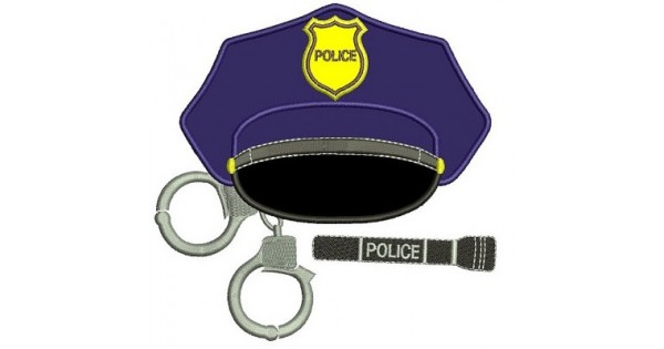 Police cap with handcuffs applique embroidery digitized design