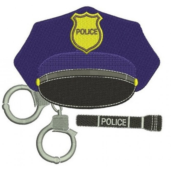 Police Cap with Handcuffs Embroidery Digitized Design Filled Pattern - Instant Download- 4x4 , 5x7, 6x10