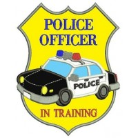 Police Officer in Training Badge Applique Embroidery Digitized Design Pattern - Instant Download- 4x4 , 5x7, 6x10