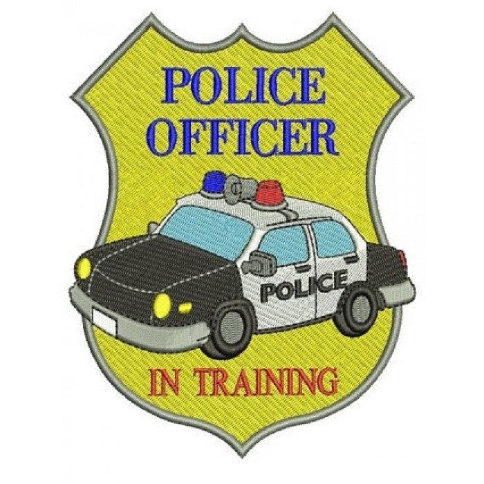 Police Officer in Training Badge Embroidery Digitized Design Filled Pattern - Instant Download- 4x4 , 5x7, 6x10