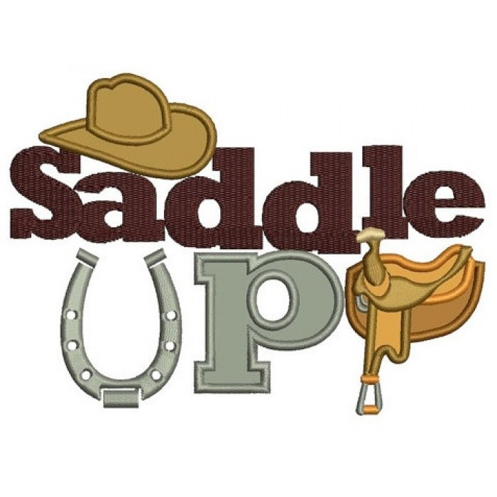 Saddle Up Horseshoe Applique Machine Embroidery Digitized Design Pattern - Instant Download - 4x4 , 5x7, 6x10