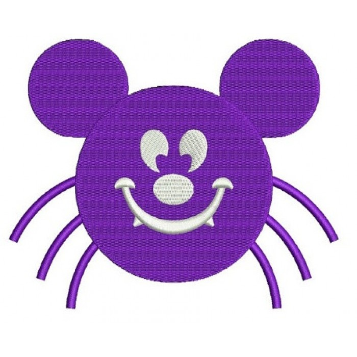 Spider MIkey Ears Halloween Machine Embroidery Digitized Design Filled Pattern - Instant Download - 4x4 , 5x7, 6x10