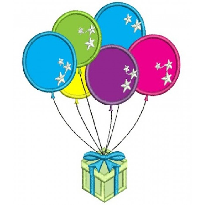 Birthday Balloons Applique Machine Embroidery Design Digitized Pattern 700x700