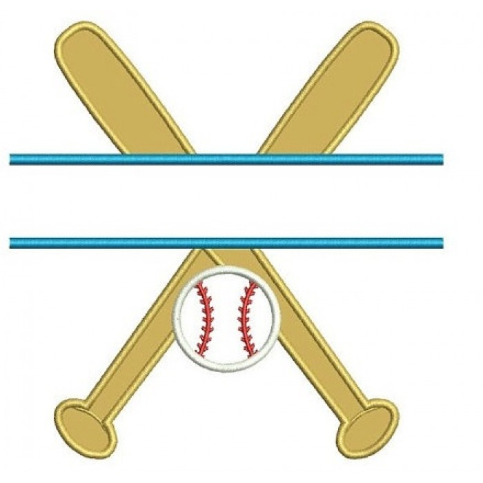 Baseball Bats Split Crossed with a baseball Design Machine Embroidery Digitized Applique Pattern - Instant Download - 4x4 , 5x7, 6x10