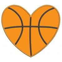 Basketball Heart Applique Machine Embroidery Digitized Design Pattern - Instant Download - 4x4 , 5x7, 6x10