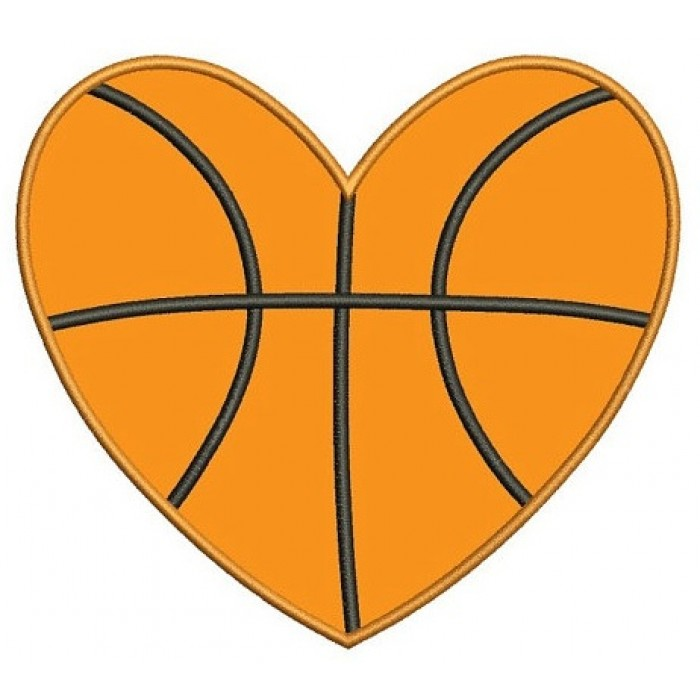 Basketball Heart Applique Machine Embroidery Digitized Design Pattern ...