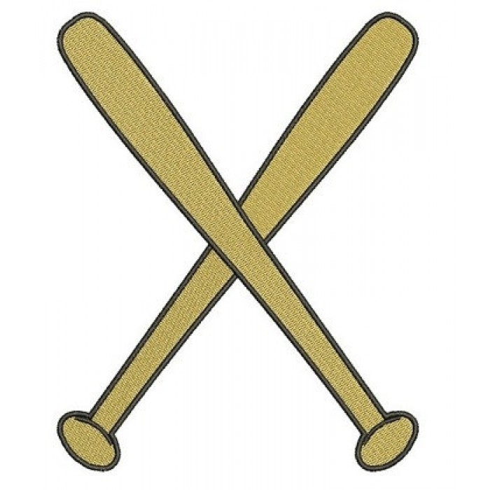 Crossed Baseball Bats Machine Embroidery Digitized Filled Design Pattern - Instant Download - 4x4 , 5x7, 6x10