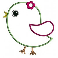 Little Bird Applique Machine Embroidery Digitized Design Pattern - Instant Download - comes in three sizes 4x4 , 5x7, 6x10 hoops