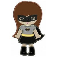 Looks like Batman Girl Applique (hands out) Super Hero Machine Embroidery Digitized Pattern - Instant Download - fits 4x4 , 5x7, 6x10 hoops
