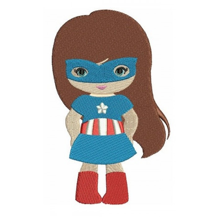 Looks like Captain America Super Girl Hero (hands in) - Filled Machine Embroidery Digitized Design - Instant Download - 4x4 , 5x7,6x10 hoops