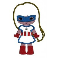 Looks like Captain America Super Girl Hero Applique (hands out) - Machine Embroidery Digitized Design - Instant Download - 4x4 , 5x7,6x10