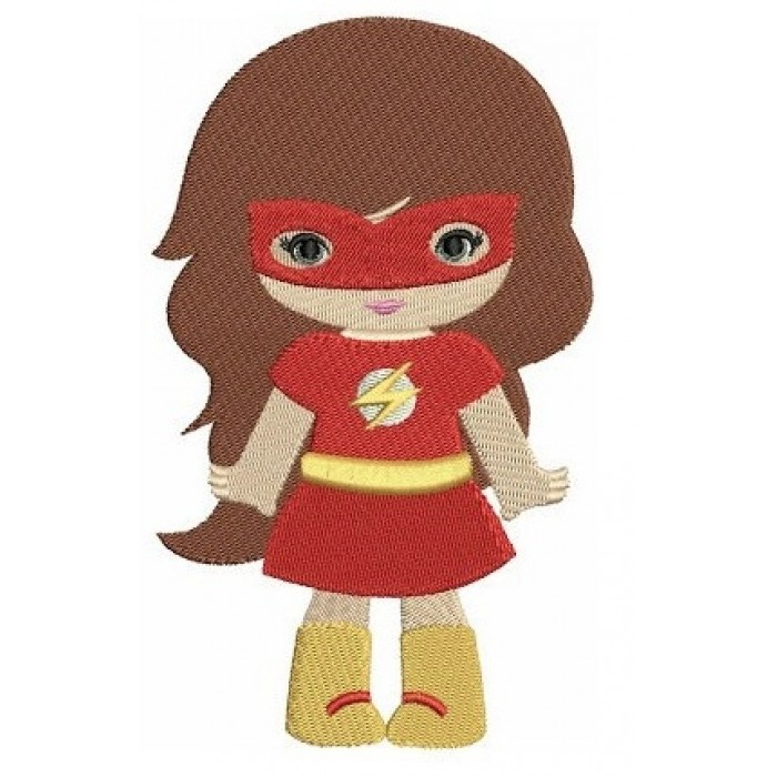 Looks like Girl Flash Super Hero (hands out) - Machine Embroidery Filled Digitized Design Pattern -Instant Download - 4x4 , 5x7, 6x10 hoops