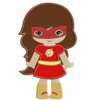 Looks like Girl Flash Super Hero Applique (hands out) - Machine Embroidery Digitized Design Pattern -Instant Download - 4x4 , 5x7,6x10 hoops