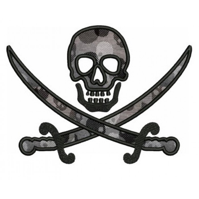 Pirate Skull and Swords Applique Digitized Machine Embroidery Design Pattern - Instant Download - 4x4 , 5x7, 6x10