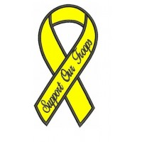 Support Our Troops Yellow Ribbon With Black Outline Applique Machine Embroidery Digitized Pattern - Instant Download 4x4 , 5x7, 6x10 hoops