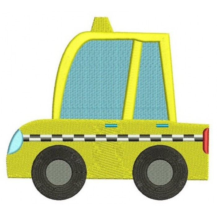 Yellow Taxi Cab Car Machine Embroidery Digitized Design Filled Pattern - Instant Download - comes in three sizes 4x4 , 5x7, 6x10 hoops
