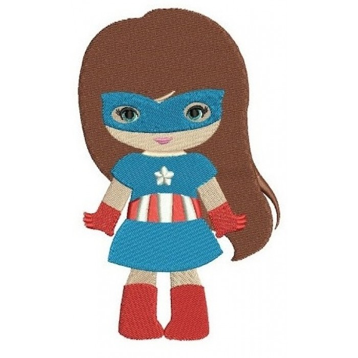 Looks like Captain America Super Girl Hero (hands out) - Filled Machine Embroidery Digitized Design - Instant Download - 4x4 , 5x7,6x10