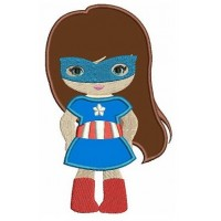 Looks like Captain America Super Girl Hero Applique (hands in) - Machine Embroidery Digitized Design - Instant Download - 4x4 , 5x7,6x10