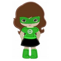 Looks like Lantern Girl Applique Super Hero (hands in) - Machine Embroidery Digitized Design Pattern - Instant Download - 4x4 , 5x7, 6x10
