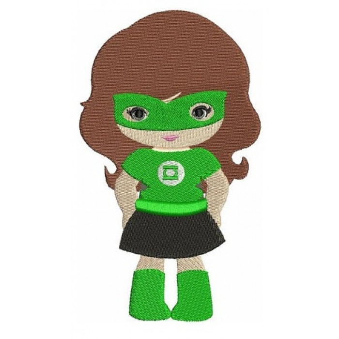 Looks like Lantern Girl Super Hero (hands in) - Machine Embroidery Filled Digitized Design Pattern - Instant Download - 4x4 , 5x7, 6x10