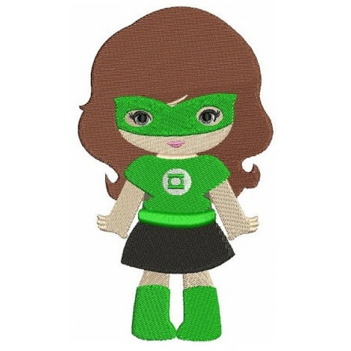 Looks like Lantern Girl Super Hero (hands out) - Machine Embroidery Digitized Filled Design Pattern - Instant Download - 4x4 , 5x7, 6x10