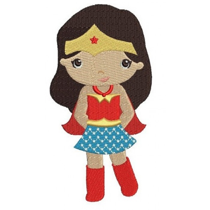 Looks like Wonder Woman Super Girl Hero (hands in) - Filled Machine Embroidery Digitized Design - Instant Download - 4x4 , 5x7,6x10