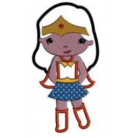 Looks like Wonder Woman Super Girl Hero Applique (hands in) - Machine Embroidery Digitized Design - Instant Download - 4x4 , 5x7,6x10