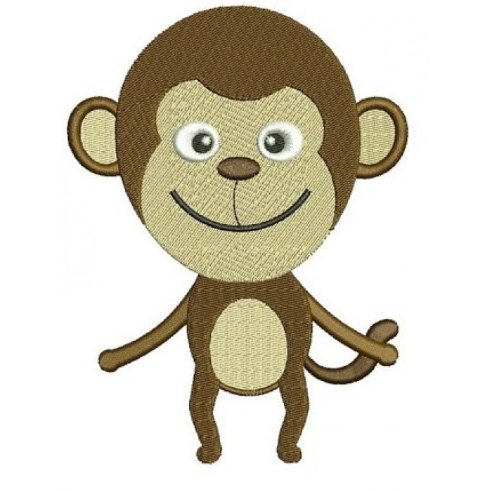 Cute Little Monkey Machine Embroidery African Animal Digitized Filled Pattern - Instant Download - sizes to fit 4x4 , 5x7, and 6x10 hoops