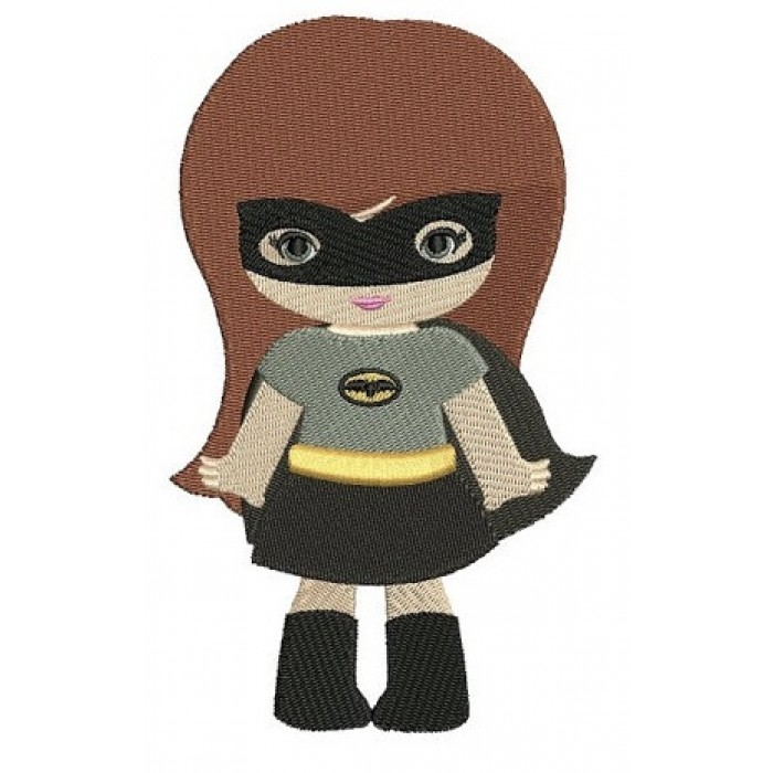 Looks like Batman Girl (hands out) Super Hero Machine Embroidery Digitized Filled Pattern - Instant Download - fits 4x4 , 5x7, 6x10 hoops